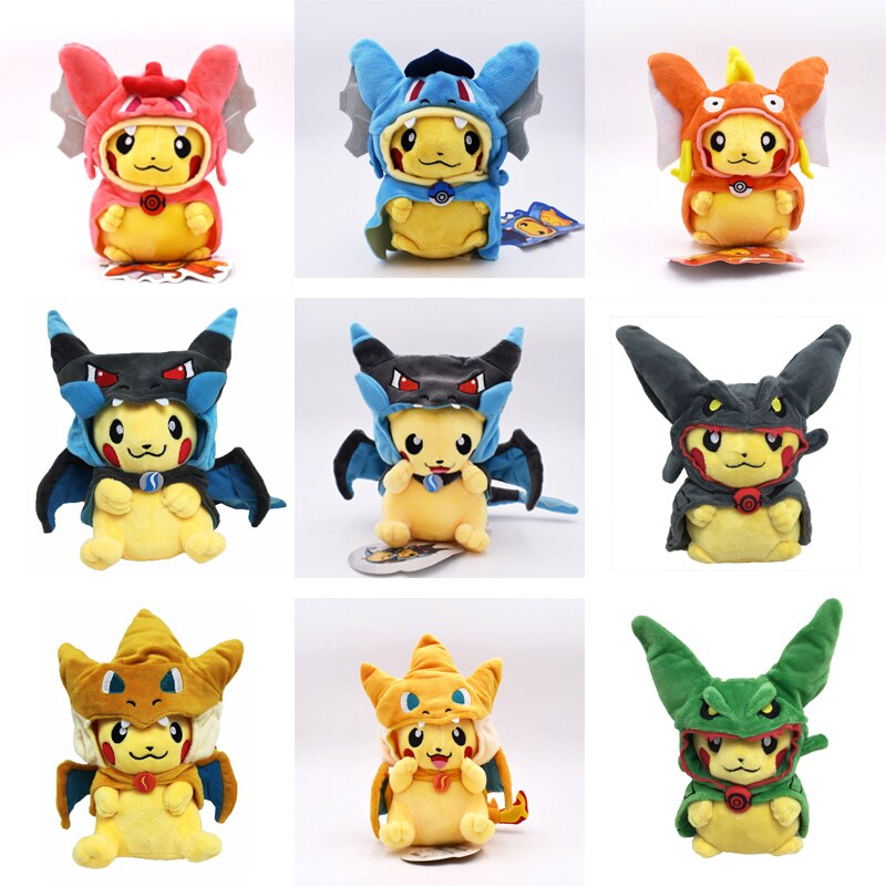 9 Styles Pikachu Cosplay  Charizard Rayquaza Magikarp Animal Stuffed Plush Quality Toys Great Gift For Children 20 cm