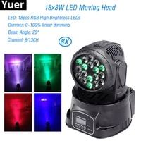 8pcslot mini high brightness led moving head light 18x3w rgb 3in1 moving head stage light for party bar disco dj stage lighting