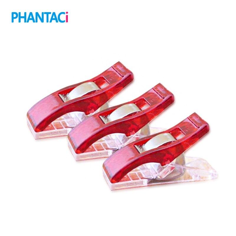 100 piunids/lote Clips de plástico de PVC rojo para costura de retazos DIY manualidades colcha Clip de trébol 2,7*1 CM
