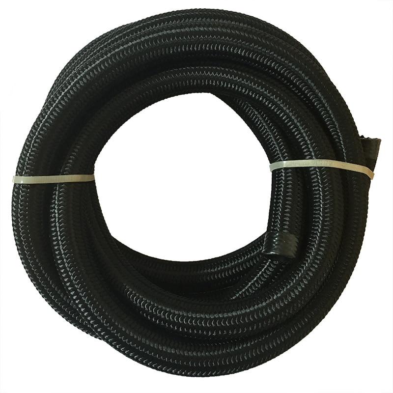 SPEEDWOW Universal 5Meter AN10 Oil Fuel Hose Nylon Braided Black Hose Line Pipe Tubing 16.4ft Rubber Oil Hose Line Racing Hose