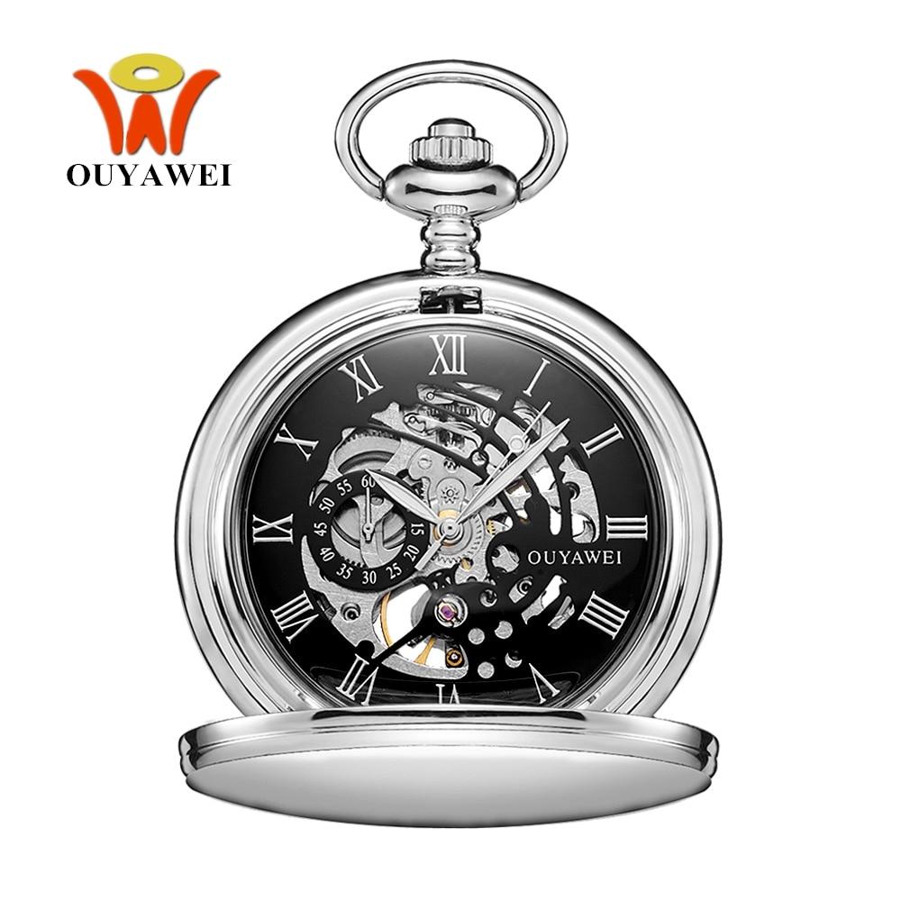 Nuevo reloj de bolsillo Marca novedosa cuerda a mano mecánico marca ouywei, caja de acero inoxidable negra plateada resistente al agua, reloj para Hombre