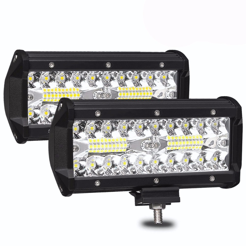 2pcs 7inch 120w Super Bright LED Light Bar Spot Flood Combo LED Lights Driving Lights Waterproof Led Work Fog Lights for Truck