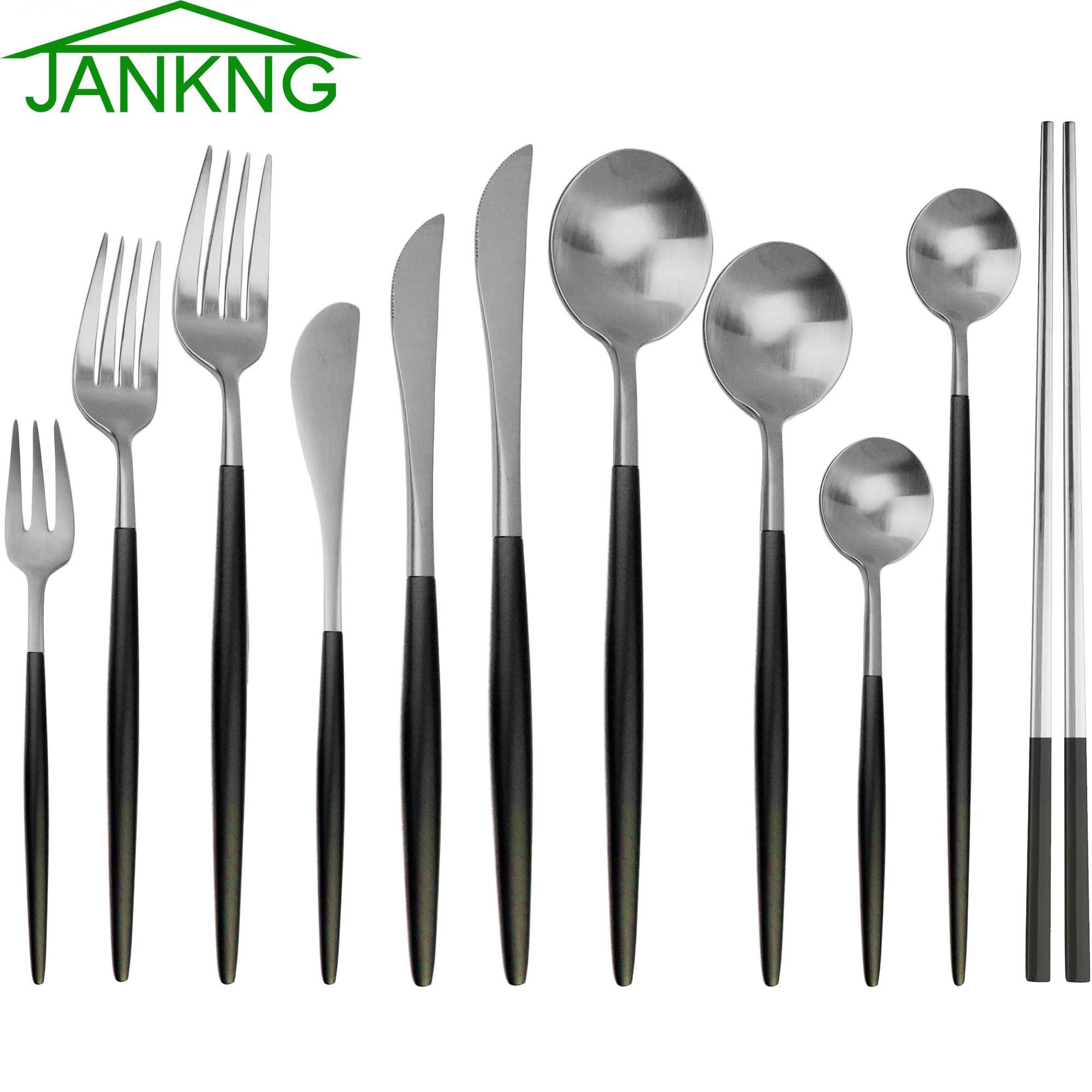 Prata preto Conjunto de Talheres 18/10 Dinnerware Set Bife Faca de Aço Inoxidável Garfo Pauzinhos Colher De Chá Partido Cozinha Comida Talheres