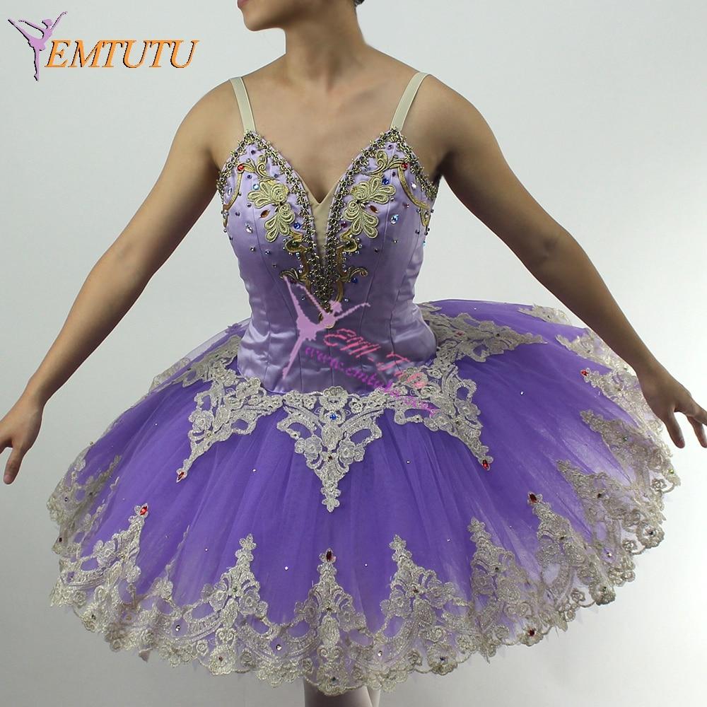 Hada Lila Tutu Ballet profesional tutús oro púrpura mujeres Cascanueces Ballet traje hecho a medida Ballet Pancake Tutu vestido