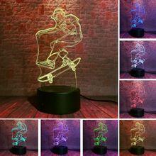 Luminous 3D Illusion Led Lamp 7 Colors Change Desk Nightlight Skateboard Sport Model Light-up Toys