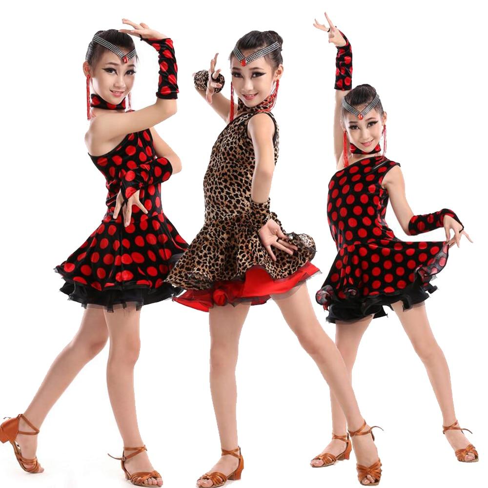 Sexy Girls Latin Dancewear dress Ballroom Stage wear Modern dancing Outfits Kids Latin Performance D