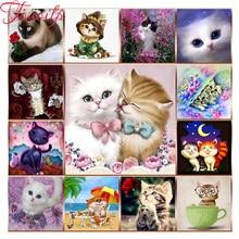 TOUOILP-perceuse brodée avec diamant   Pleine fleur danimal chat 5d peinture en diamant, point de croix, football, décorations de fête danniversaire pour enfants