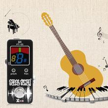 PT-06 Mini Pocket Chromatic Tuner B0-B6 Pedal de efecto negro para guitarra bajo violín ukelele Line-in y Mic Detection