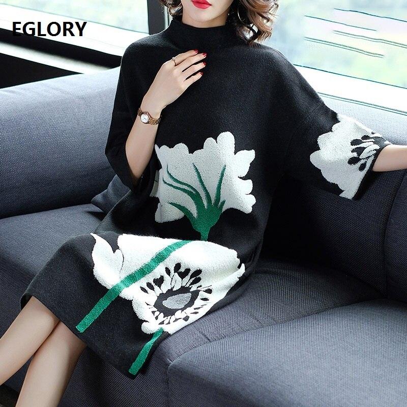 European Plus Size Dress 2019 Autumn Winter Fashion Knitted Sweater Dress Women Big Floral Print Mid-Calf Casual Jumper Dress