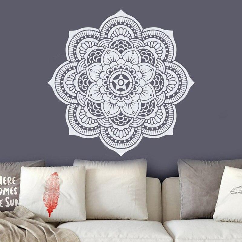 Mandala Wall Decal.  Yoga Studio Decor. Bohemian Bedroom Decor. Maroccan Pattern. Flower Mandala Decal. Yoga StickersA12-058