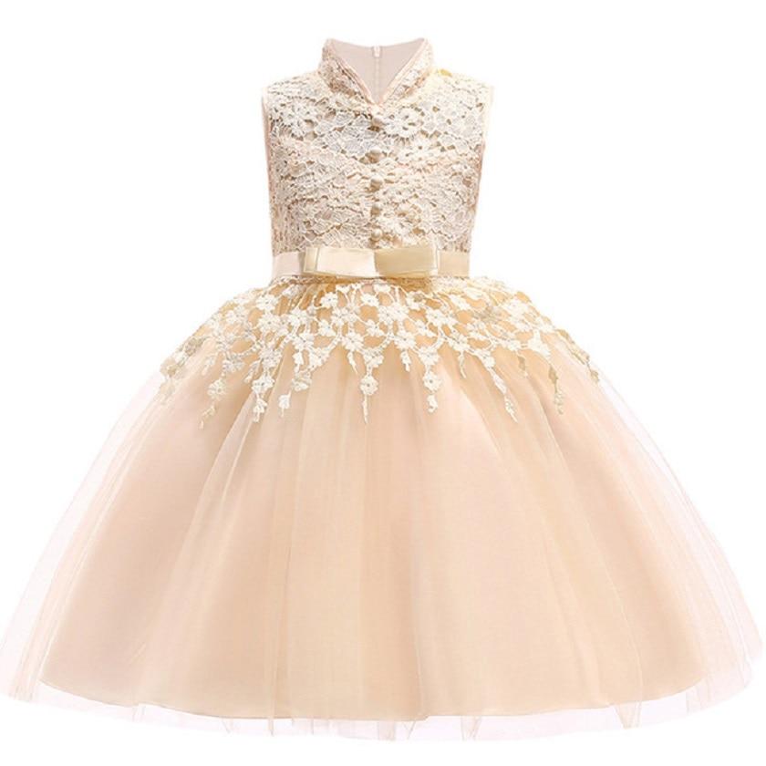 2018 neue Ärmellose Spitze Mädchen Kleid Erstkommunion Kleider mit Bogen Schärpe Blume Mädchen Kleider Ballkleider Nach Maß Vestidos