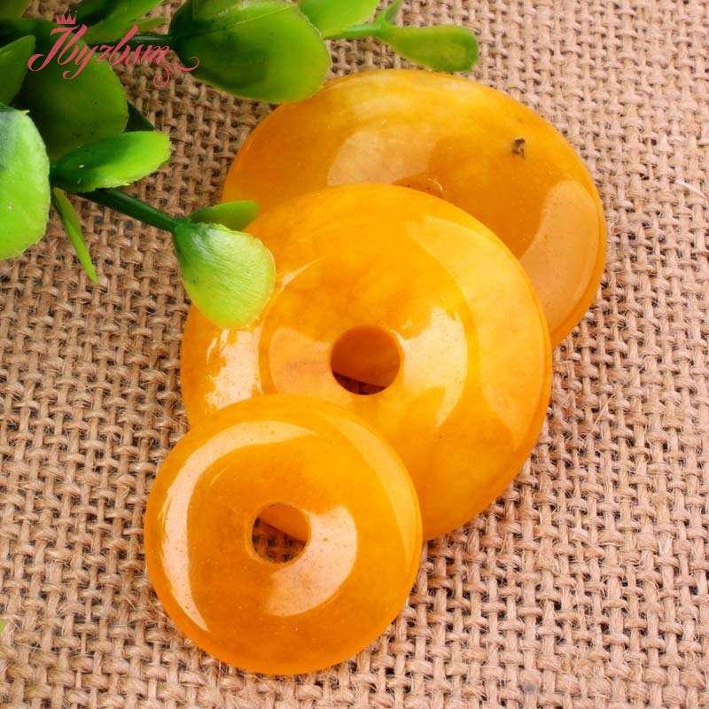 25,35, 40mm Anel Donut Rodada Contas de Pedra Cornalina Amarela Pingente 1 Pcs, para DIY Fazer Jóias Colar, Atacado Frete Grátis