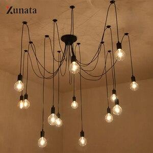 220V Modern Nordic Retro Pendant Light Edison E27 Bulb Light Chandelier Ceiling Lamp DIY Art Spider Fixture Light