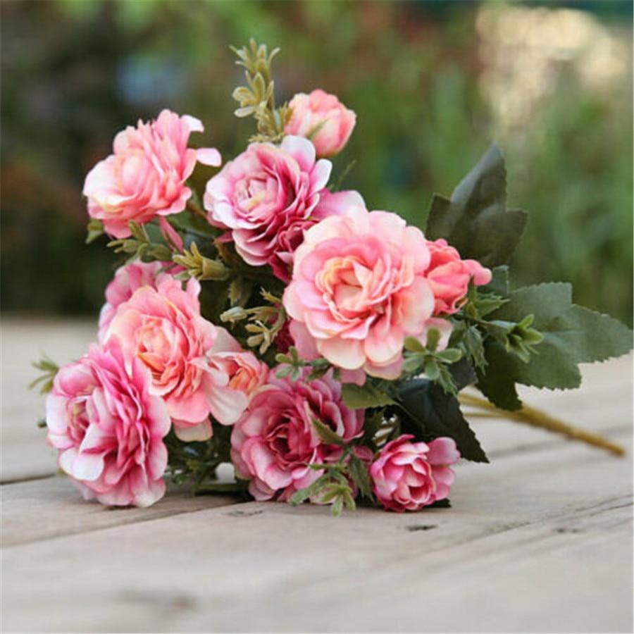 14 Big Head Artificial Fake azalea Simulation Silk Flower Wedding Party Bridal Bouquet Home Garden Decor