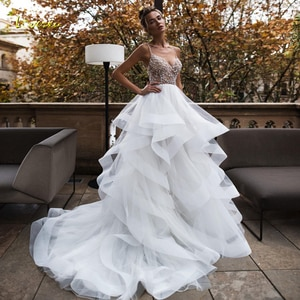 Loverxu Sexy Backless Sweetheart Ruffles A Line Wedding Dresses 2019 Beaded Crystal Court Train Tiered Tulle A Line Bridal Gowns