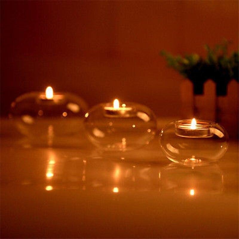 Романтичный портативный круглый полый классический стеклянный подсвечник для свадьбы, прозрачный подсвечник для обеденного дома, бар, дек...