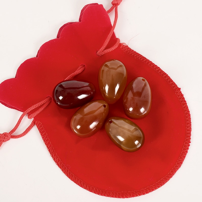 Drilled Yoni Egg Massage Stone Natural Carnelian Jade Egg for Kegel Exercise Crystal Sphere Vaginal Ben Wa Balls 30*20mm