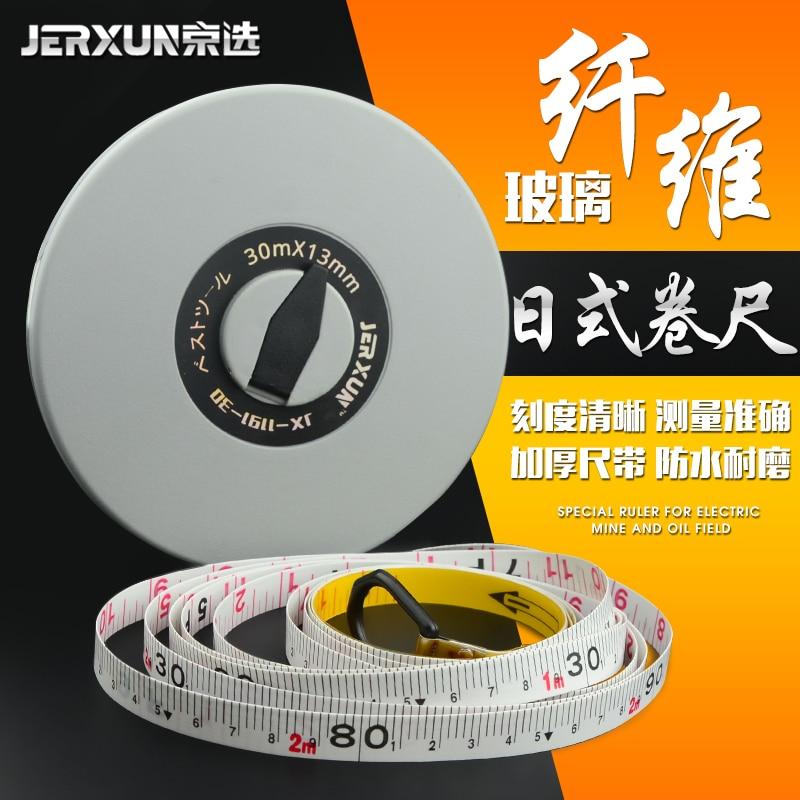 JERXUN Leather Ruler Glass Fibre Measuring Tape 30/50 Meters Measuring Waterproof Soft Measuring Tape Engineering Ruler