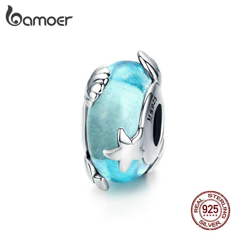 Cuentas de cristal de Murano azul claro bamoer para mujer, fabricación de joyas de plata esterlina, dije de estrella de mar, pulsera de encanto Europea SCC1257