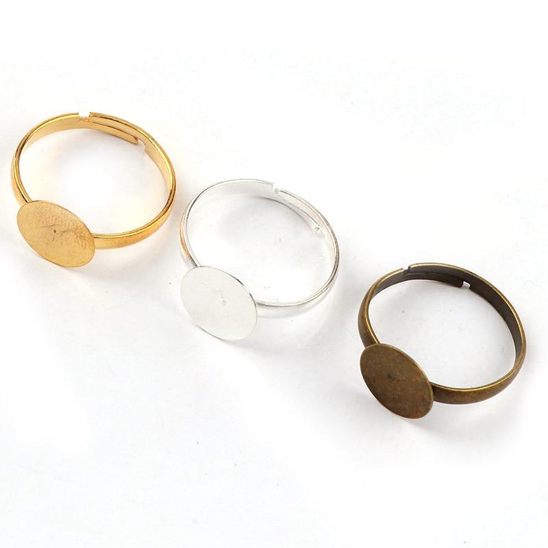 10mm de moda anillo ajustable almohadilla plana bisel cabujón de adorno Ajuste de Bases espacios bricolaje anillo joyería encontrar