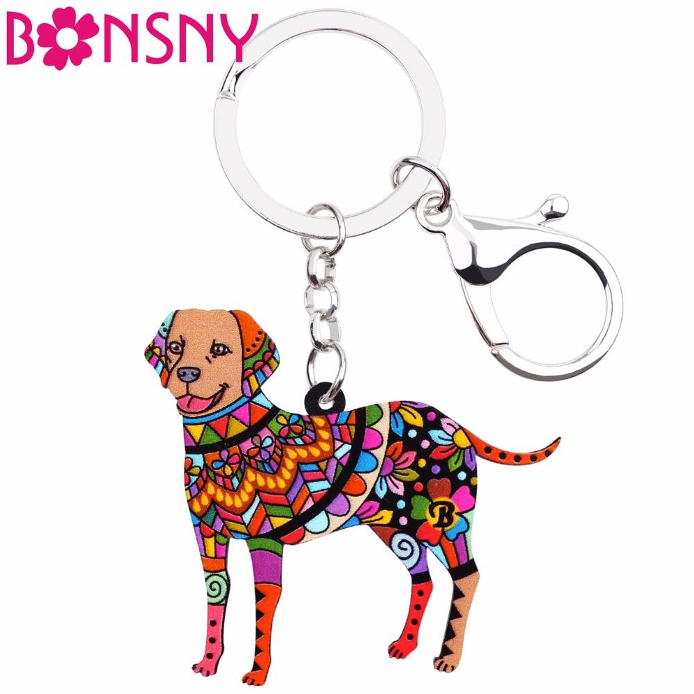 Bonsny Acrylic Labrador Retriver Dog Key Chain Keychains Rings Novelty Animal Jewelry For Women Girls Pet Lovers Handbag Pendant