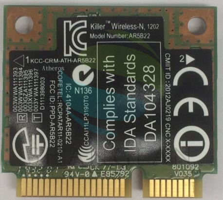 Venta al por mayor de doble banda Pie Grande redes asesino N1202 AR5B22 0CTJ7G mitad Mini PCI-E 300mbps inalámbrico BLUETOOTH 4,0 computadoras portátiles tarjeta WIFI