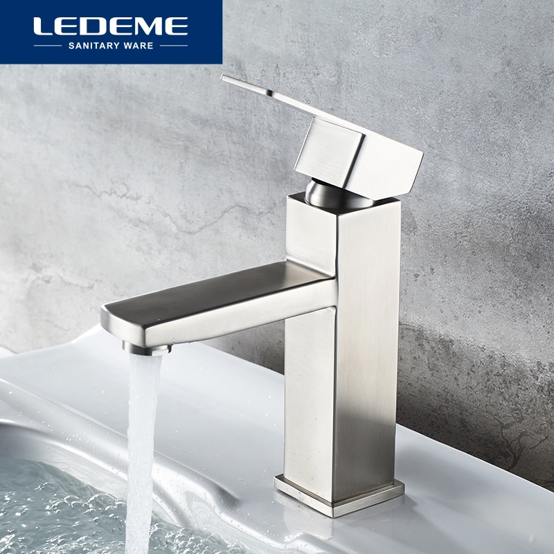 LEDEME الحمام حوض صنبور الحمام الحنفية الساخن الباردة المياه بالوعة الحنفيات الفولاذ المقاوم للصدأ واحدة المياه حوض خلاط صنابير المياه L71033