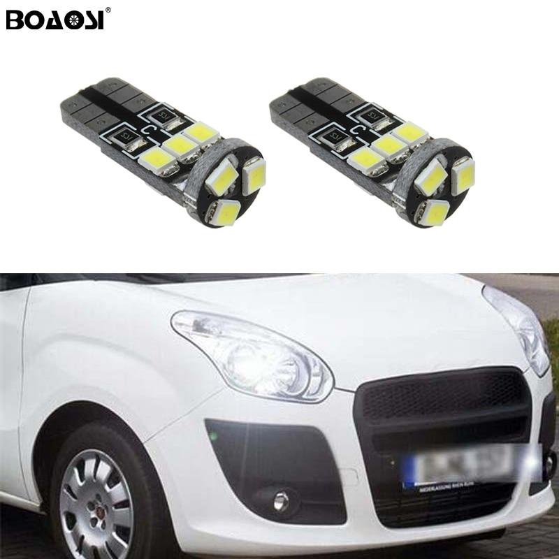 BOAOSI 2x T10 W5W 2835smd LED de luz con la lente del proyector para FIAT 500 Punto Stilo Palio Freemont Bravo Ducato Doblo