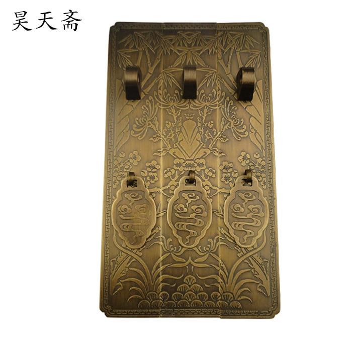 [Haotian نباتي] العتيقة الصينية خزانة خزانة خزانة الباب النحاس مقبض كبير البرقوق أقحوان الفقرة HTC-2