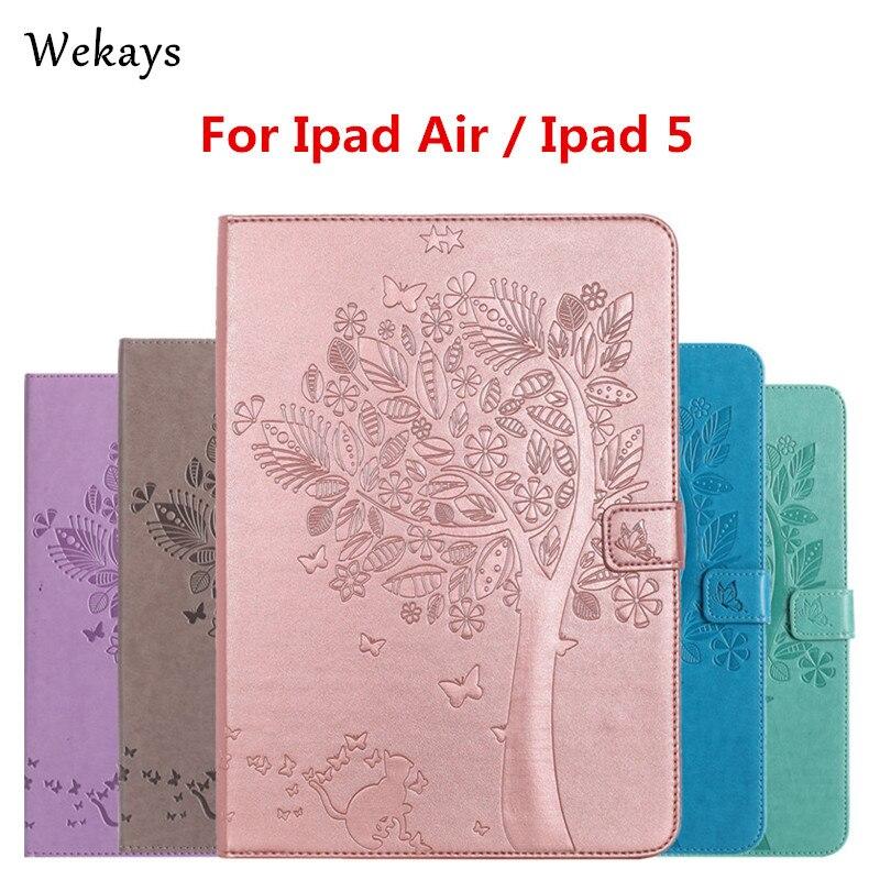 Чехол Wekays для iPad Air, Роскошный кожаный флип-чехол с рисунком кота и дерева для Apple iPad Air, ipad 5, чехол с полной подставкой