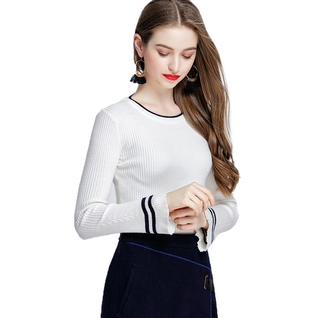 New Autumn Spring Women Knitting Full Flare Sleeve O-neck Striped Sweaters Pullovers Girls Knitted Tops Knitwear Clothing Woman