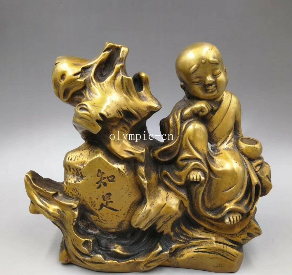 8 cobre latón tallado Budismo un niño pequeño monje priestling Buda
