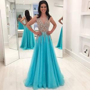 Gorgeous Beading Crystal Long Prom Dresses 2019 Sexy Backless Sleeveless Evening Dresses Custom Make Party Dress Robe De Soiree