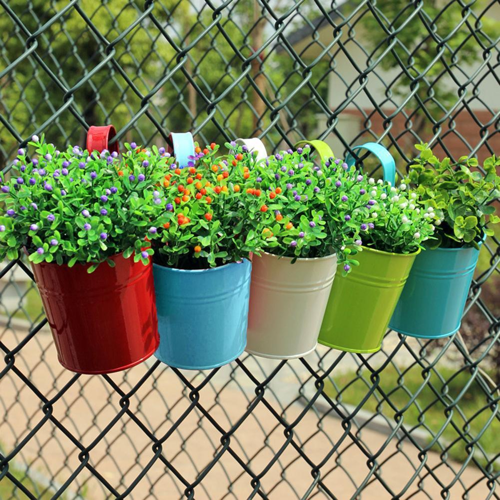 HOT SALE! Metal Iron Hanging Flower Pot Container Home Balcony Garden Planter Barrel Decor Hangable flower pot