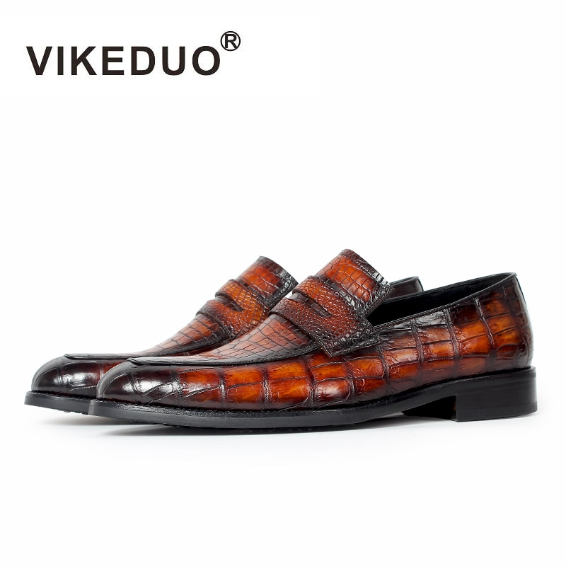 Vikeduo 2020 Real Crocodile Men's Loafers Shoes Brand Luxury Party Wedding Genuine Leather Alligator Driving Male Casual Shoes