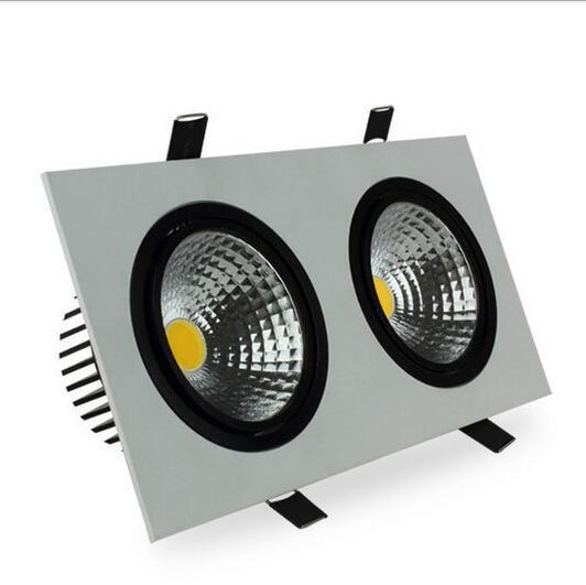 سطوع عالية مزدوجة رئيس إضاءة ساقطة ليد على شكل مربع عكس الضوء 10 واط 14 واط 18 واط 24 واط led cob راحة ضوء ساقط من السقف مصباح للمنزل Dec