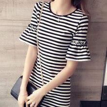 Venta caliente mujeres Casual Stripe vestido señoras de manga corta fiesta de verano ajustado campana manga playa Long camiseta vestidos negro blanco