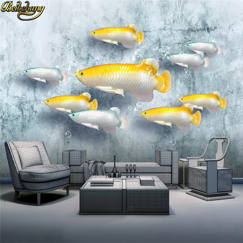 beibehang embossed magnolia pearl nordic jewelry wall papers home decor 3d flooring wallpaper for living room home improvement beibehang 3d flooring stereoscopic Wallpaper TV sofa background wall papers home decor background Embossed fish mural wallpaper