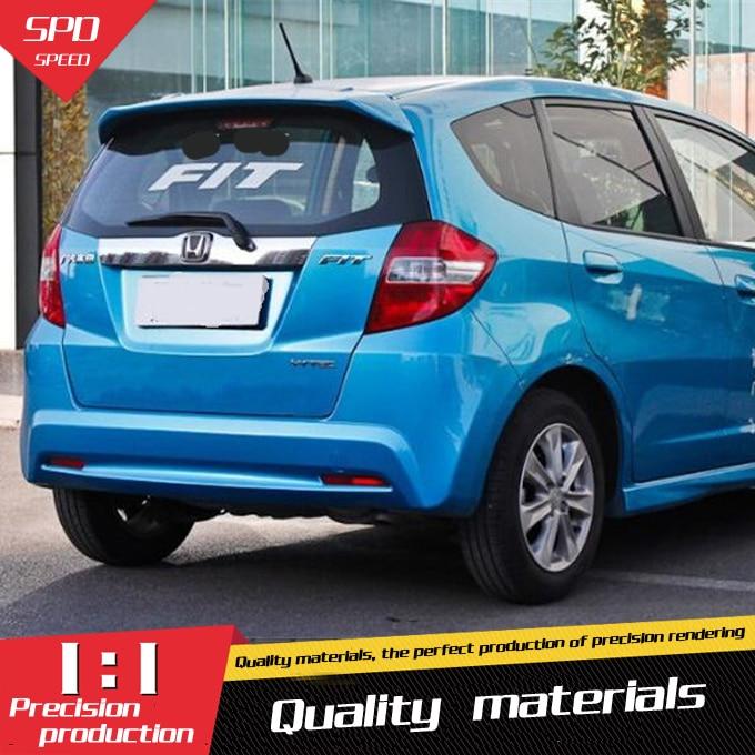 Para Honda Jazz Fit Spoiler de alta calidad ABS Material de coche de ala trasera Primer Color alerón trasero para Honda Fit Spoiler 2008-2013