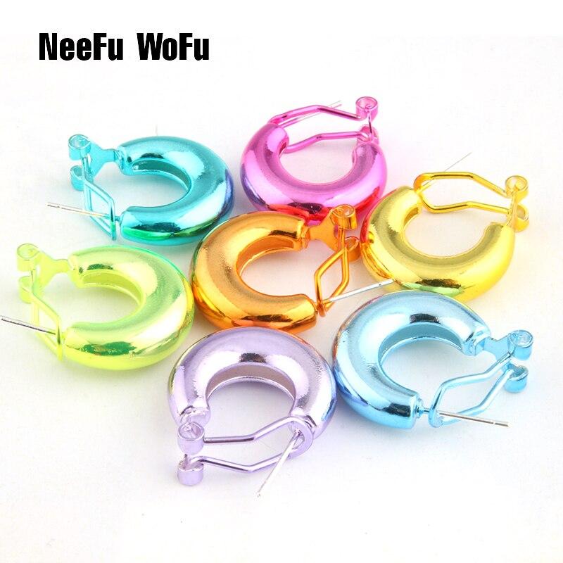 Pendientes NeeFu WoFu de Color brillante, pendientes de cobre, grandes pendientes para mujer, grandes pendientes largos Brinco, regalo