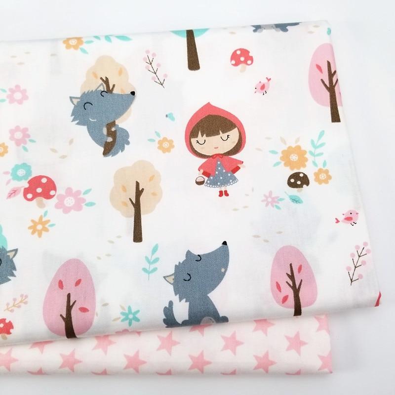 Tela 100% de algodón estampado de niña tela de sarga de algodón para costura DIY tela de patchwork