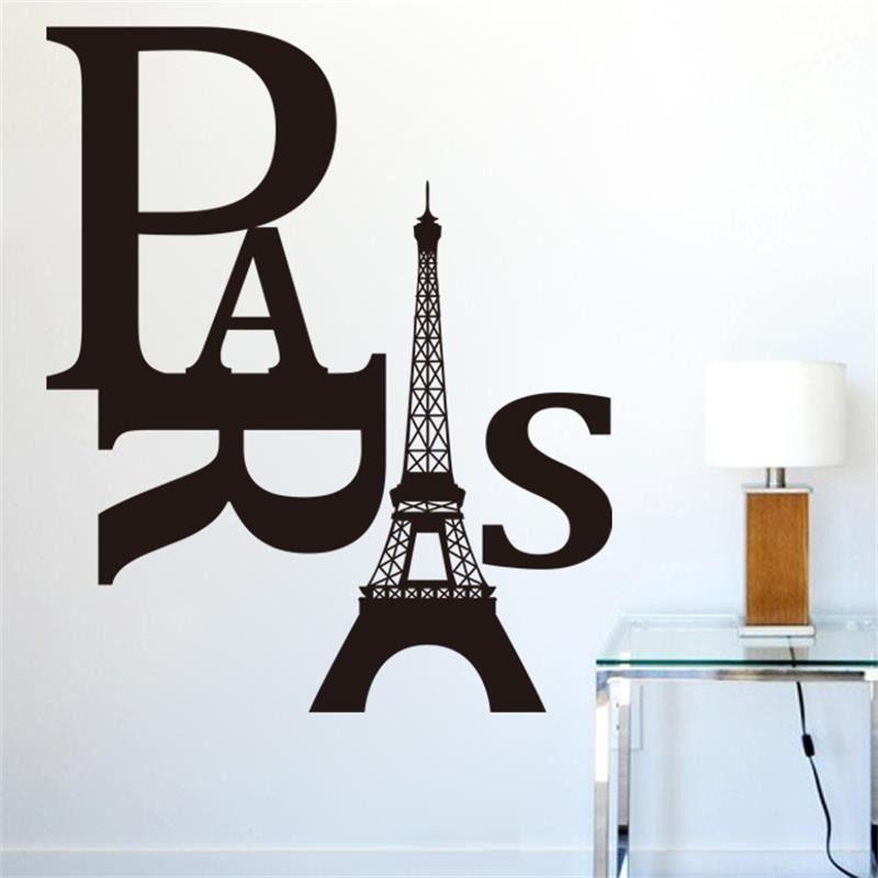 Stickers muraux en vinyle   Autocollant tour de Paris, citations, décoration dart domestique, stickers muraux pour chambre, papier peint Simple