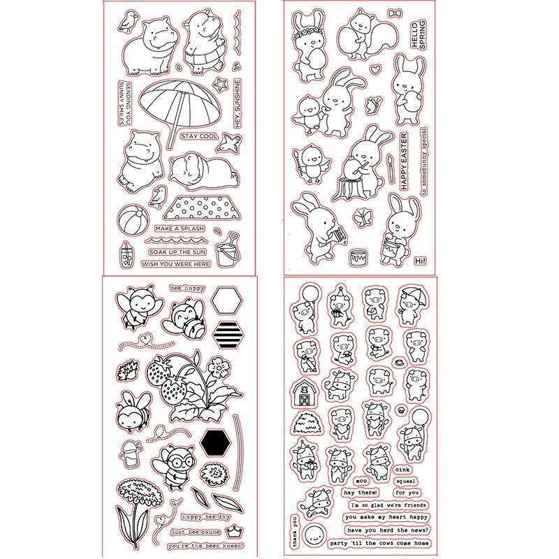 4*8 pulgadas ME Hippopotamus conejos miel abejas vaca Piggy sellos transparentes claros para DIY tarjetas de papel para álbum de recortes Crafts 2019 MaMa