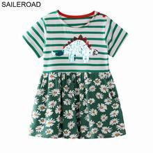 SAILEROAD-robe à Paillettes de dinosaure   Vêtements pour filles de 4 ans, à poches, tenue de fête pour enfants