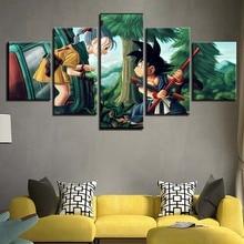 Toile à cadre de peinture imprimé HD   Affiche murale, Dragon Ball, fille et Goku, pour la maison, affiche pour salon moderne
