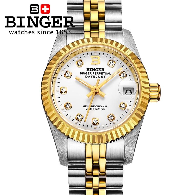 Relojes de lujo para mujer de la marca suiza BINGER Diamond, relojes mecánicos automáticos de zafiro, relojes de parejas resistentes al agua, BG-0375-3