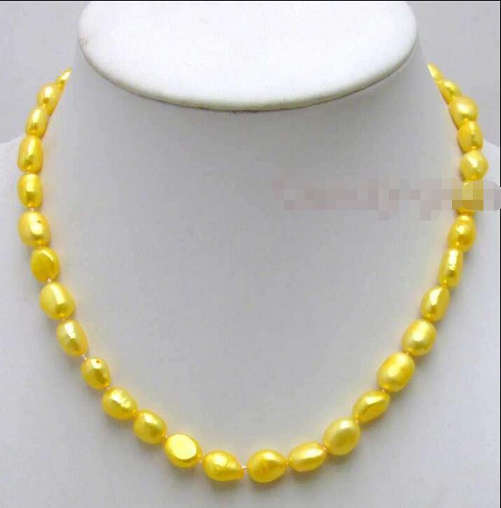 "Envío Gratis >>>>> venta amarillo grande 7-9mm barroco perla natural de agua dulce 17 ""collar"