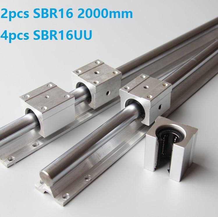 2 قطعة SBR16 -L 2000 مللي متر دليل خطي + 4 قطعة SBR16UU الخطي كتل beairng ل نك