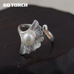 Gqtorch ginkgo leaf ring prata 925 anéis mulher incrustada genuína pérola de água doce simplesmente design único anelli argento