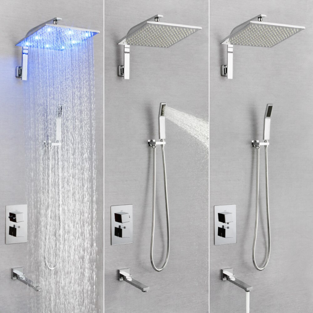 SKOWLL Brass Chrome Thermostatic Shower Lights Faucets Sets Bathroom Rainfall SK-7628